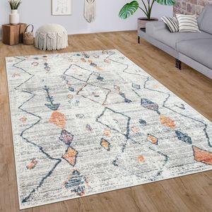 Teppich Wohnzimmer Kurzflor Ethno Boho Rauten 3D Muster Modern Creme Bunt, Grösse:200x290 cm
