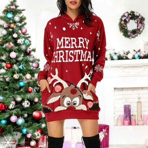Elch Weihnachtspullover Kapuzenpullover Merry Christmas für Frauen-Farbe: Rot Größe: M