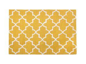 Teppich gelb 160 x 230 cm marokkanisches Muster Kurzflor SILVAN