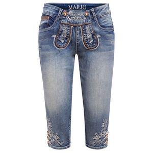 Jeans-Kniebundlederhose Franziska in Blau von Marjo Trachten, Größe:30, Farbe:Blau