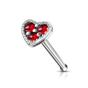 Nasenpiercing Stecker Herz Heart Nasenstecker Stift Nasen Piercing Zirkonia Kristalle Autiga® silber-rot