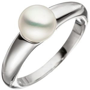 JOBO Damen Ring 56mm 925 Sterling Silber 1 Süßwasser Perle Perlenring Silberring