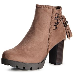 topschuhe24 1510 Damen Velours Stiefeletten Ankle Boots Schleife Fransen, Farbe:Khaki Braun, Größe:40 EU