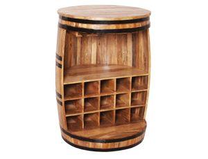 SIT Möbel Barschrank fassförmig | aus lackiertem Mango-Holz | natur antik | B 67 x T 67 x H 90 cm | 01936-04 | Serie RUSTIC