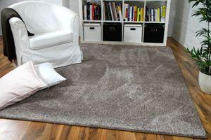 Hochflor Velours Teppich Mona Taupe, Größe:200x200 cm