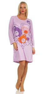 Damen Nachthemd Langarm Sleepshirt mit Bär-Muster, Flieder M