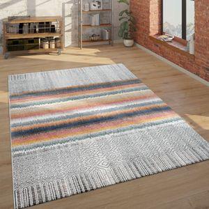 Teppich Wohnzimmer Ethno Geometrischen Muster Kurzflor Geometrischen, Grau Und Bunt, Grösse:300x400 cm