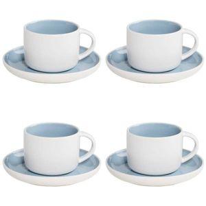 4er SET Tassen mit Untertasse TINT weiß hellblau 240ml Maxwell & Williams WA