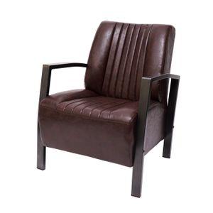 Sessel HWC-H10, Loungesessel Polstersessel Relaxsessel, Metall Industriedesign  vintage braun
