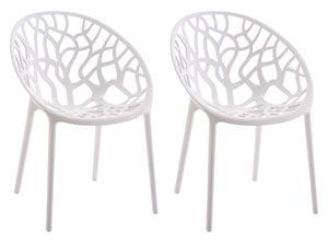 CLP 2er Set Stuhl Hope Wetterbeständiger und Stapelbar., Farbe:weiß