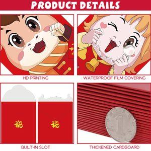 6PCs Chinesisches Neujahrsrot Umschlaege Ochsenjahr Gluecksgeld Taschen Rote Paeckchen Hong Bao Glueckverheissend fuer Neujahrsfruehlingsfesthochzeit