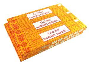 Goloka Nag Champa Masala Räucherstäbchen gelb Räucherwerk 6 x 16g Duftstäbchen
