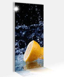 Acrylglasbild 40x100cm Zitrone Wasser Tropfen Küche Obst Glasbild Bilder Acrylglas Acrylglasbilder Wandbild 14B289