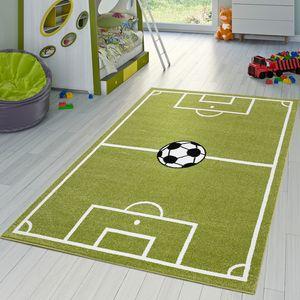 Kinder Teppich Fußball Spielen Kinderzimmerteppiche Fußballplatz in Grün Creme, Größe:120x170 cm