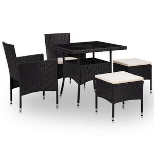 Huicheng Poly Rattan 5-tlg. Garten Essgruppe Sitzgruppe Esstischgruppe mit 2 Rattansessel + Glasplatte Tisch + 2 Hocker Schwarz