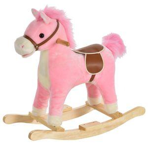 HOMCOM Kinder Schaukelpferd Baby Schaukeltier Pferd mit Tiergeräusche Spielzeug Haltegriffe für 36-72 Monate Plüsch Rosa 65 x 32,5 x 61 cm