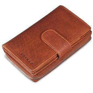 ROYALZ Vintage Leder Damen Geldbörse 18 Kartenfächer Organizer RFID Blocker Portemonnaie viele Fächer Brieftasche XXL Portmonee, Farbe:Texas Braun