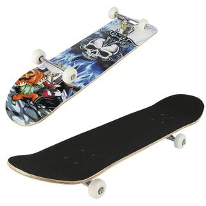 Skateboard Skate Board Komplettboard Ahornholz Holzboard mit Schädelmuster Skateboard stumm schalten