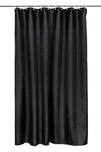Duschvorhang mit 12 Ringe zur Befestigung, 180x200 cm, schwarz