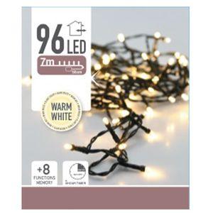 LED-Lichterkette, 96 LEDs, warmweiß, Batteriebetrieb, IP44, Timer
