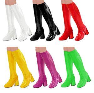 60er 70er Lack Damen Stiefel Überzieher Stulpen glänzend, Farbe:Pink