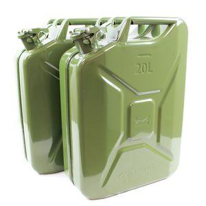 2x Benzinkanister Kraftstoffkanister Metall 20 Liter Olivgrün Kanister für Benzin und Diesel