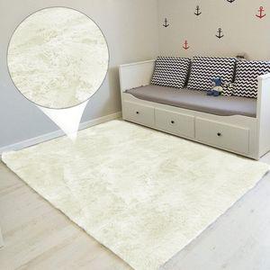 Hochflor Teppich 160x230 cm Shaggy Langflor für Wohnzimmer Schlafzimmer modern flauschig Läufer Wohnzimmerteppich WEIß