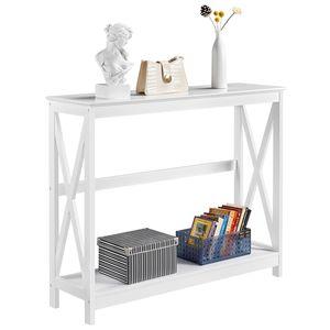 Yaheetech Konsolentisch, Flurtisch mit Ablage, Beistelltisch, Sideboard, Wohnzimmer, Flur, 101.5 x 30 x 81 cm, schmal, Holz, im Nordischen-Design, Weiß