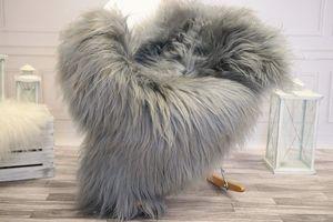 Lammfell Teppich Schaffell echt langhaar - Schafsfell Fell deko Fellteppich Sheepskin (Grau, (XL) 110 - 115 cm)