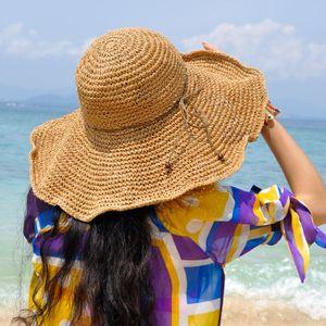 Floppy Bast-Sommer-Hut für Frauen-Sommer-Hut Strohhut Strand-Hut -(kakhi Sommerhut,)