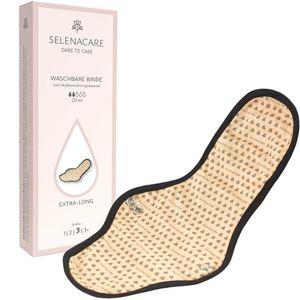 Selenacare Waschbare Binde 3 beige - antibakteriell & wiederverwendbar, 100% vegan, 30cm Länge, 20ml Aufnahme