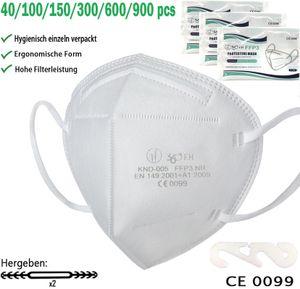 100 FFP3 Maske, EU Konform CE0099 Mundschutzmaske, Atemschutzmasken, 5 lagige Maske, Filtert 99% der Bakterien, Gegen Staub und Partikelschutzmask