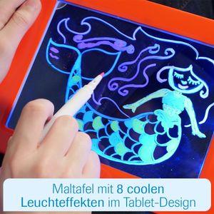 Magic Pad Zaubertafel inkl. 3 Farbstifte 6 Neonfarben 30 Schablonen Schreibplatte Schreibtafel für Kinder Mediashop