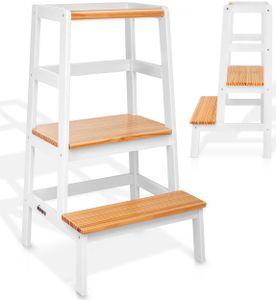 KIDUKU® Lernturm aus Holz Weiß / Holz-Natur | Kinder-Schemel für Kinder ab dem Stehalter | Lerntower für höchste Sicherheit | Learning Tower für Mädchen & Jungen