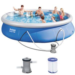 BESTWAY 57313 Fast Set Swimmingpool Rundpool mit Filterpumpe Filter 457x84cm