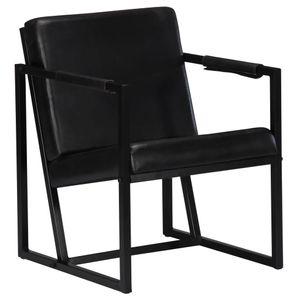 Moderne - Chesterfield-Sessel Sofa Stuhl Schwarz Echtleder
