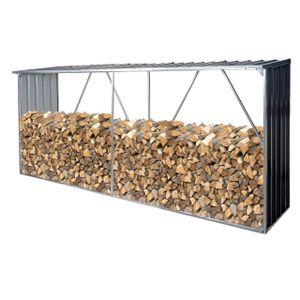 Brennholzlager HWC-F22, Holzunterstand Brennholzregal Kaminholzregal, 3,35m³ Metall verzinkt 154x353x80cm  dunkelgrau