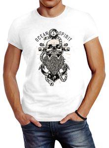 Herren T-Shirt Skull Captain Anker Totenkopf Bart Kapitän Ocean Spirit Slim Fit Neverless® weiß L
