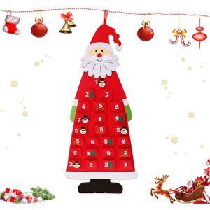Miixia Filz-Adventskalender Santa Weihnachtsmann Adventskalender DIY Filz Weihnachten Santa 24 Tage Countdown-Kalender mit Taschen DIY Weihnachtsschmuck Hanging Dekorationen Adventskalender zum Befüllen Kinder Weihnachten Adventskalender Befüllen Weihnachtsmann Adventskalender mit 24 Taschen Aus Stoff zum Aufhängen,Weihnachtskalender DIY kinder Stoff-Adventskalender