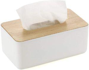 Kosmetiktücherbox feuchttücherbox Holz weiß Rechteckige Eichelkappe Taschentücher Box für Home Office Auto Multifunktions Praktische Taschentücherbox (Weiß 23X13X10 cm)