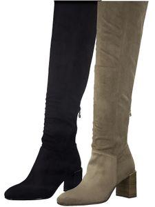 Tamaris Damen Stiefel Langschaft Blockabsatz 1-25509-27, Größe:41 EU, Farbe:Grau