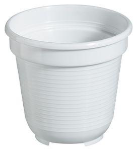 10er Set Pflanzkübel Blumentopf Standard 28 cm rund aus Kunststoff Sparpaket, Farbe:weiß