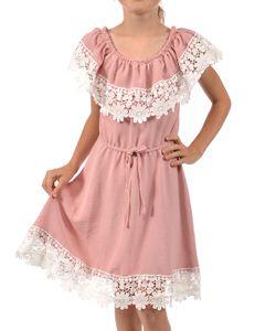 KMISSO Mädchen Kleid Schulterfrei mit Spitze Altrosa 128