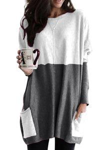 Plus Size Frauen Casual Rundhalsausschnitt Langarm Tasche Farbblock Sweatshirt Tuniken Bluse Tops,Farbe: Dunkelgrau,Größe:5XL