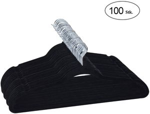 COSTWAY 100Stk. Samt Kleiderbügel, Anzugbügel mit 360°drehbarer Haken, Jackenbügel mit Rockkerben und Hosensteg, schwarz