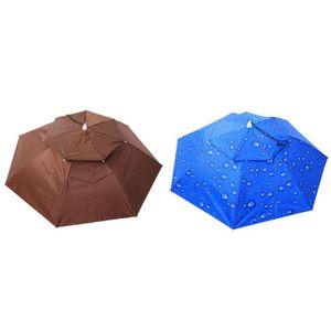 2 schicht Falten Wind Proof Headwear Regenschirm Hut Kappe Regen Getriebe fš¹r Angeln