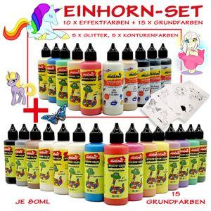 Window Color Einhorn Set 25 Farben Fenstermalfarbe Fensterfarbe Unicorn Glasfarb
