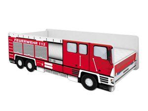 ACMA Jugendbett Kinderbett Auto-Bett Junior Feuerwehr Bett Komplett-Set mit Matratze Lattenrost und Rausfallschutz 140x70