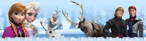 Die Eiskönigin, Völlig Unverfroren Selbstklebende Fototapete Poster-Tapete Bordüre - Characters, Olaf, Sven, Anna, Kristoff, Elsa, Hans, Disney (500 x 10 cm)