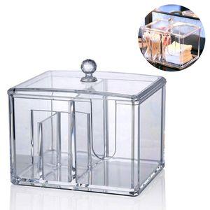 Acryl Make up Halter,Wattepad-Spender und Wattestäbchen-Behälter, Wattepad Organizer Baumwolle  Container Display Stand Kosmetik Make-up Aufbewahrungsbox mit Deckel -Transparent
